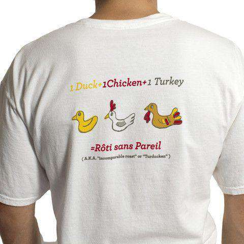 Beach T-Shirt in White with Rubber Turducken by Castaway Clothing  - 1