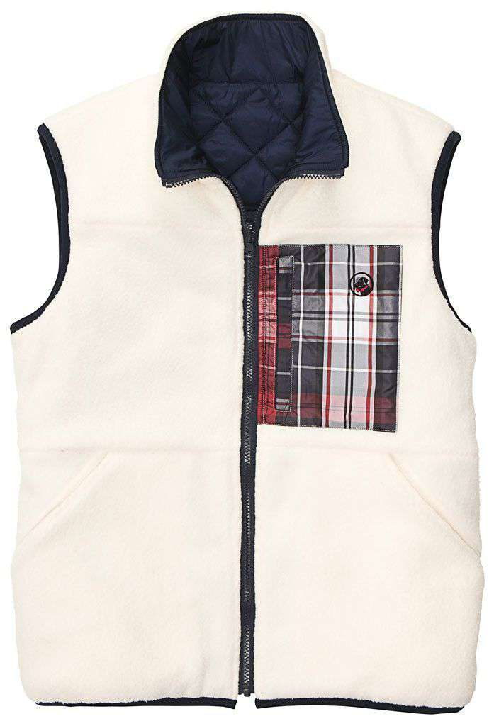 All Prep Reversible Vest in Cream by Southern Proper  - 1