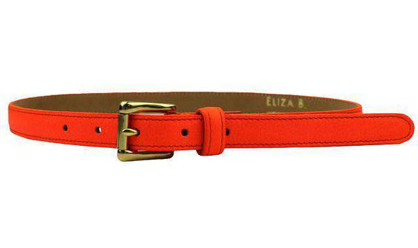 Leather Skinny Belt in Neon Orange by Eliza B