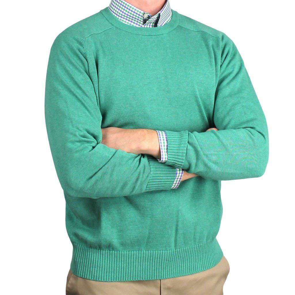 Front Nine Cotton Crew Neck Sweater in Emerald by Country Club Prep  - 1
