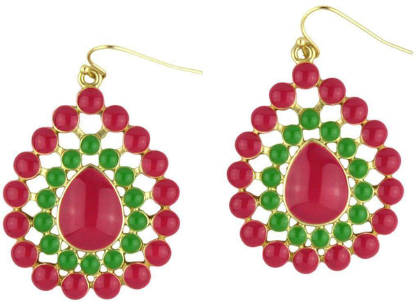 The Natalie Earring in Pink and Green by Fornash - FINAL SALE