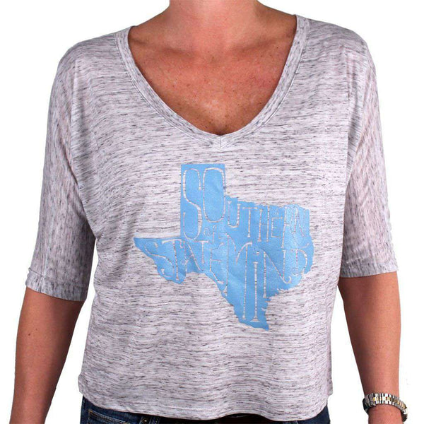 Southern State of Mind Texas Tee in Grey by Geneologie - FINAL SALE