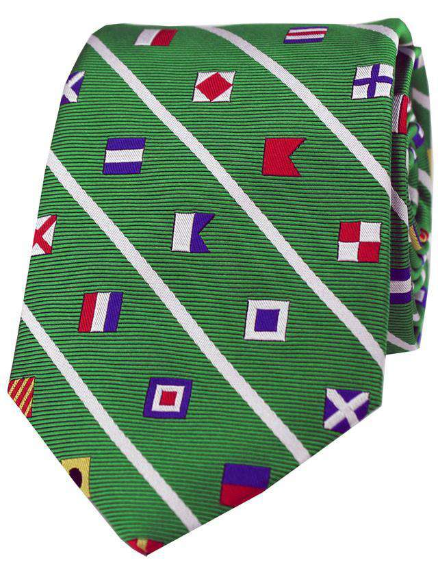Nautical Signal Flag Neck Tie in Green by Anchored Style - FINAL SALE