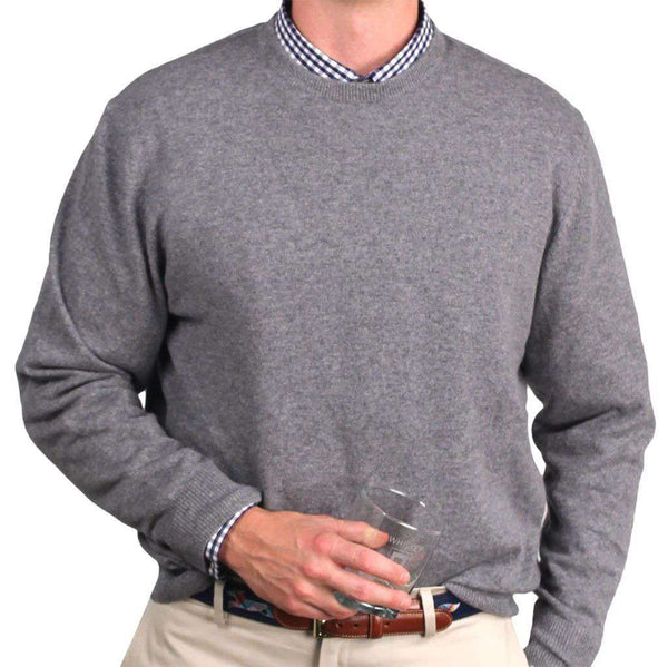 Yacht Club Cashmere Crew Neck Sweater in Heather Grey by Country Club Prep