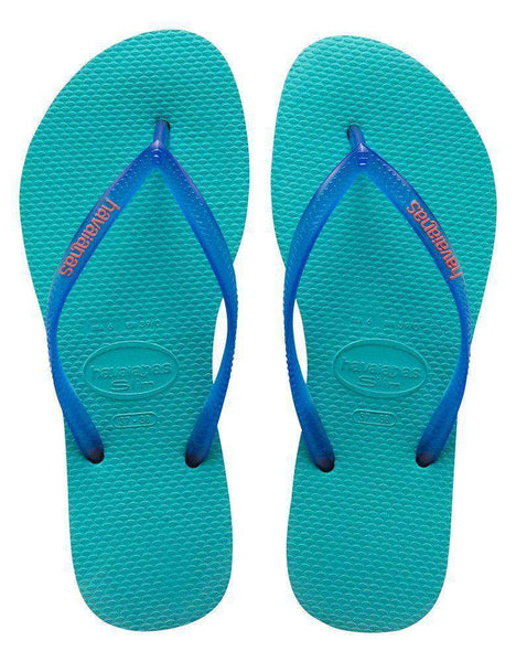 Slim Logo Pop-Up Sandals in Pool Green by Havaianas - Country Club Prep