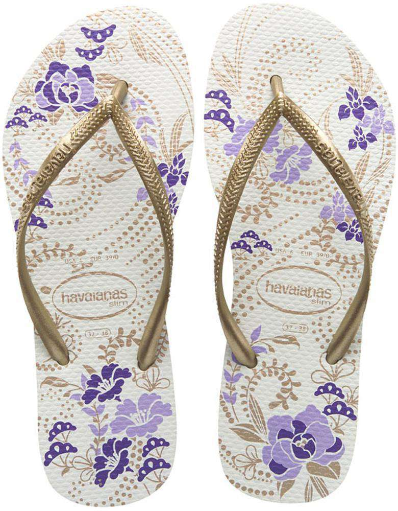 Slim Season Sandals in White/Light Golden by Havaianas - Country Club Prep