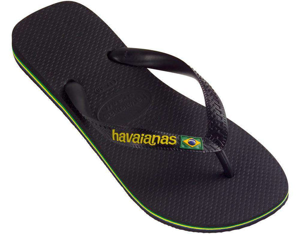 Men's Brazil Logo Sandals in Black by Havaianas - Country Club Prep
