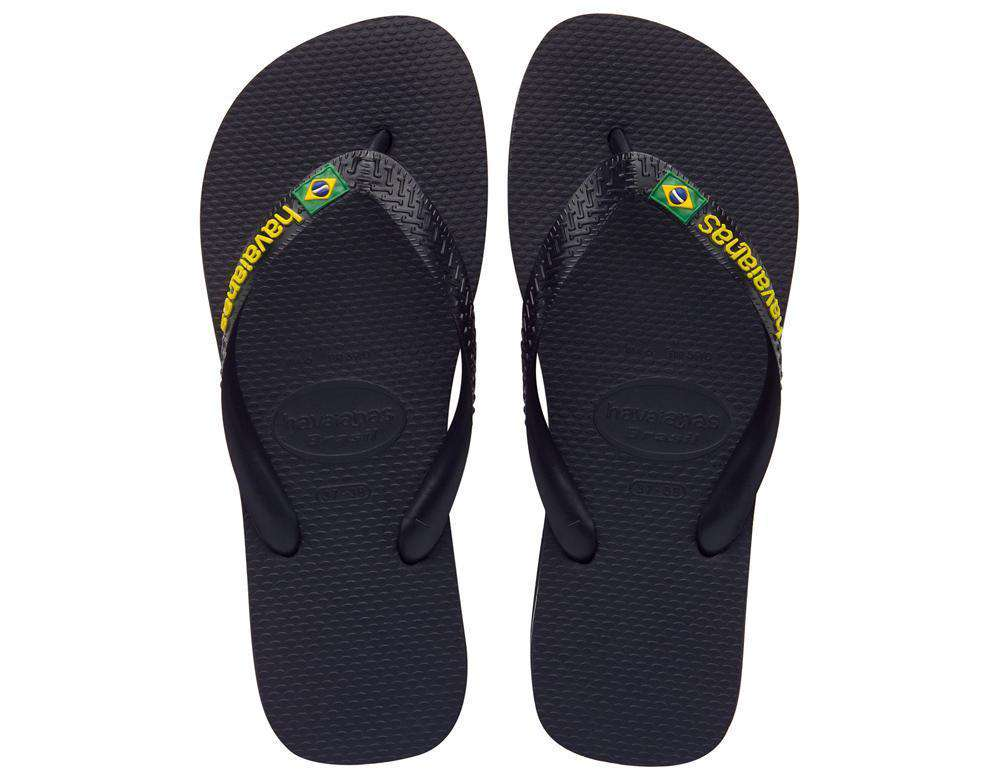 Women's Brazil Logo Sandals in Black by Havaianas  - 1