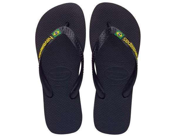 Women's Brazil Logo Sandals in Black by Havaianas - Country Club Prep