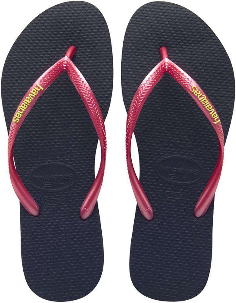 Slim Logo Pop-Up Sandals in Black/Sugar Coral by Havaianas - Country Club Prep