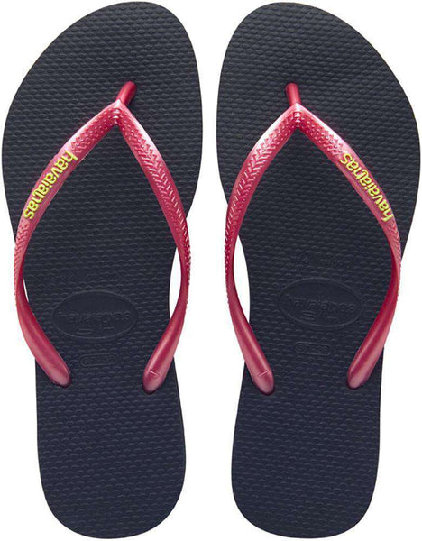 Slim Logo Pop-Up Sandals in Black/Sugar Coral by Havaianas  - 1
