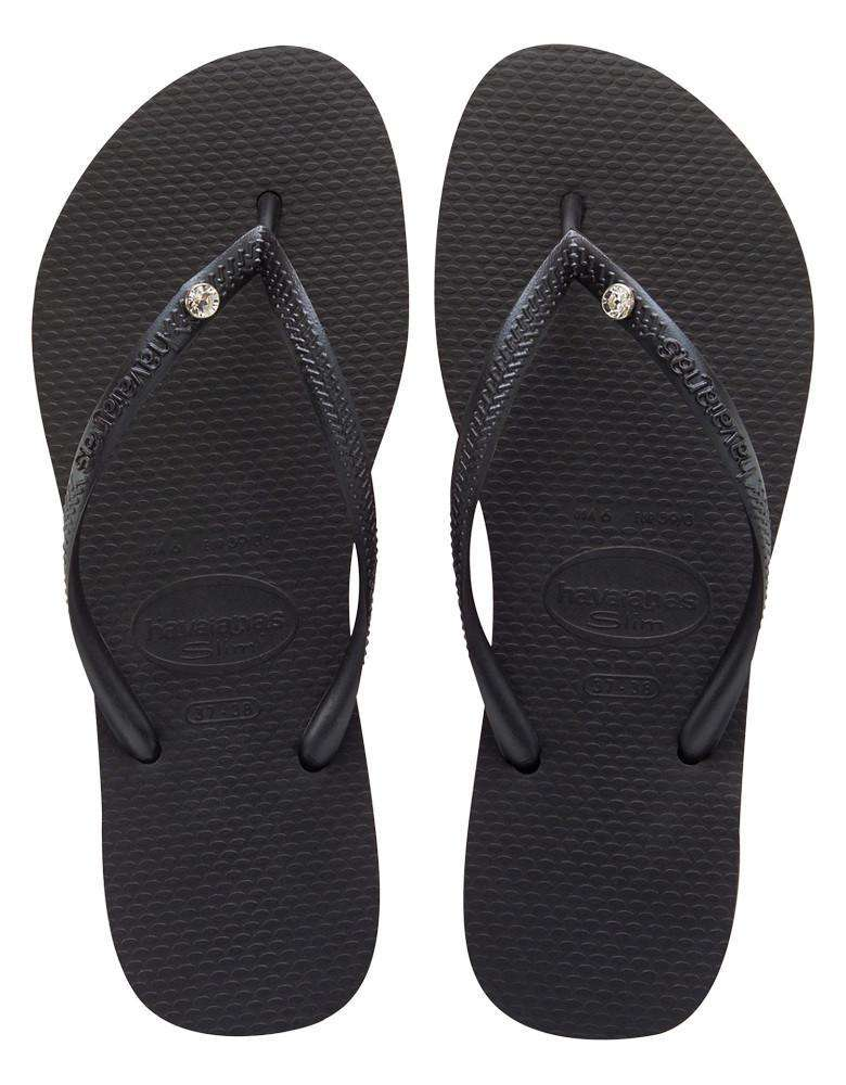 Slim Crystal Glamour Sandals in Black by Havaianas - Country Club Prep