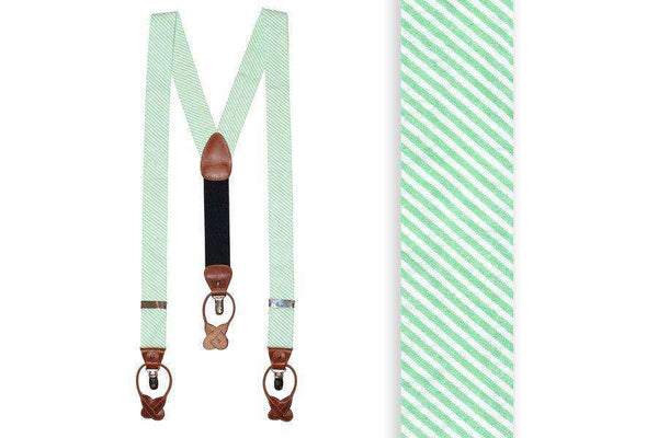 Mint Green Seersucker Suspenders/ Braces by High Cotton  - 1