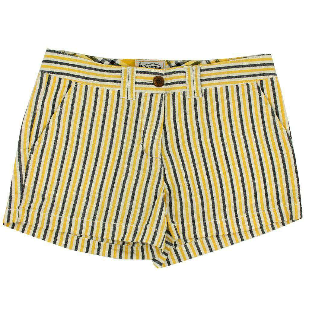 Women's Shorts in Black and Gold Seersucker by Olde School Brand