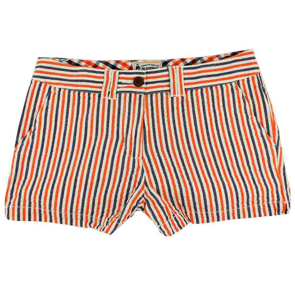Women's Shorts in Orange and Navy Seersucker by Olde School Brand  - 1