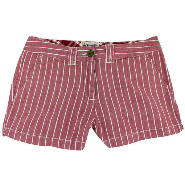 Women's Shorts in White and Maroon Oxford Stripe by Olde School Brand