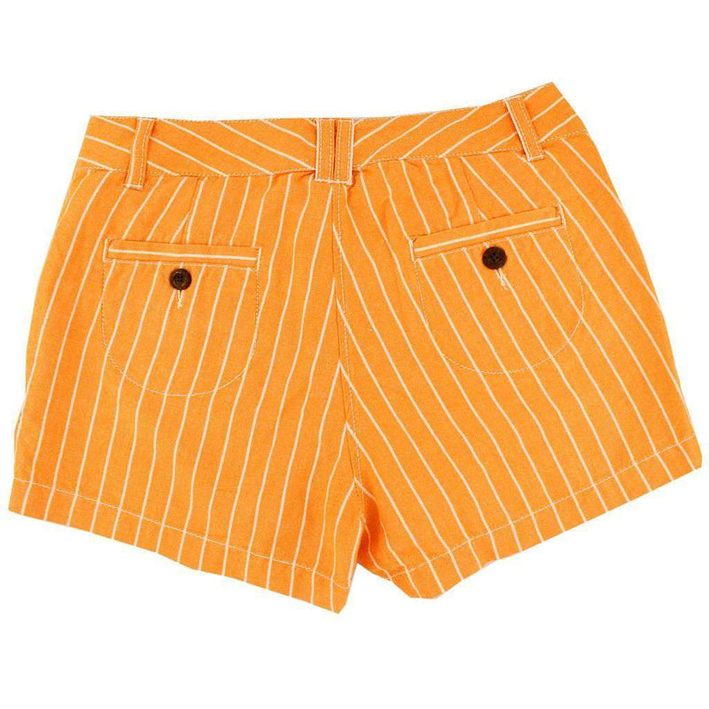 Women's Shorts in White and Orange Oxford Stripe by Olde School Brand  - 2