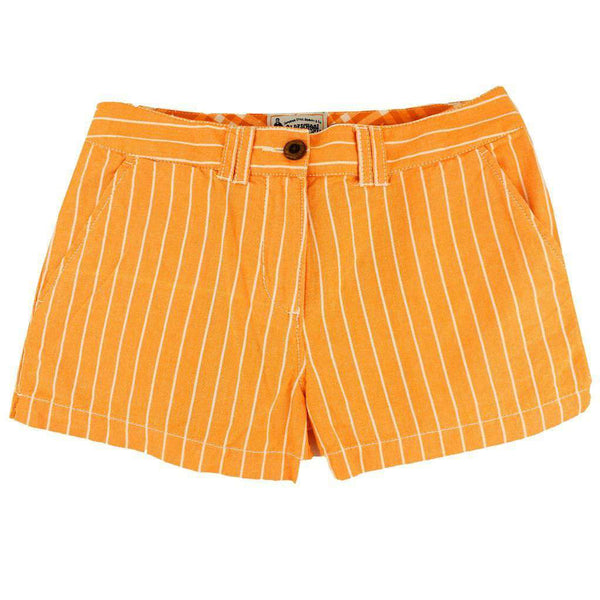 Women's Shorts in White and Orange Oxford Stripe by Olde School Brand  - 1