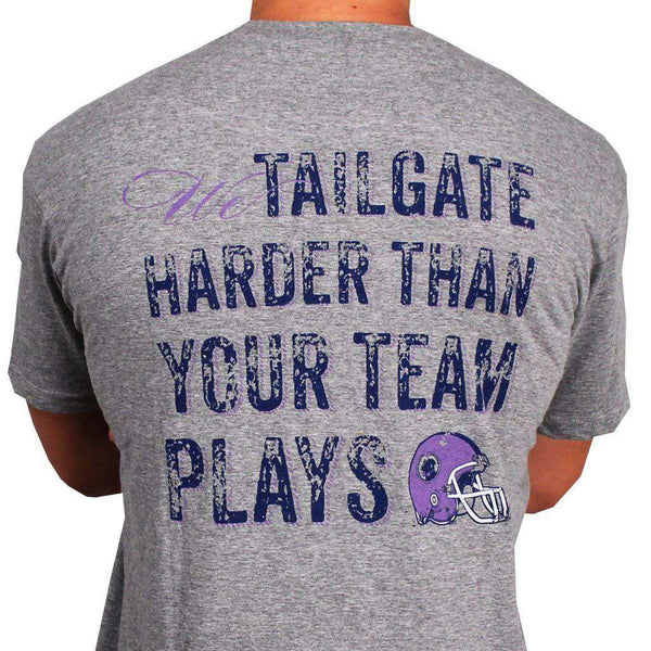 Tailgate Harder Tee in Grey with Purple Helmet by Southern Proper