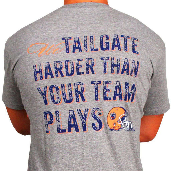 Tailgate Harder Tee in Grey with Orange Helmet by Southern Proper  - 1