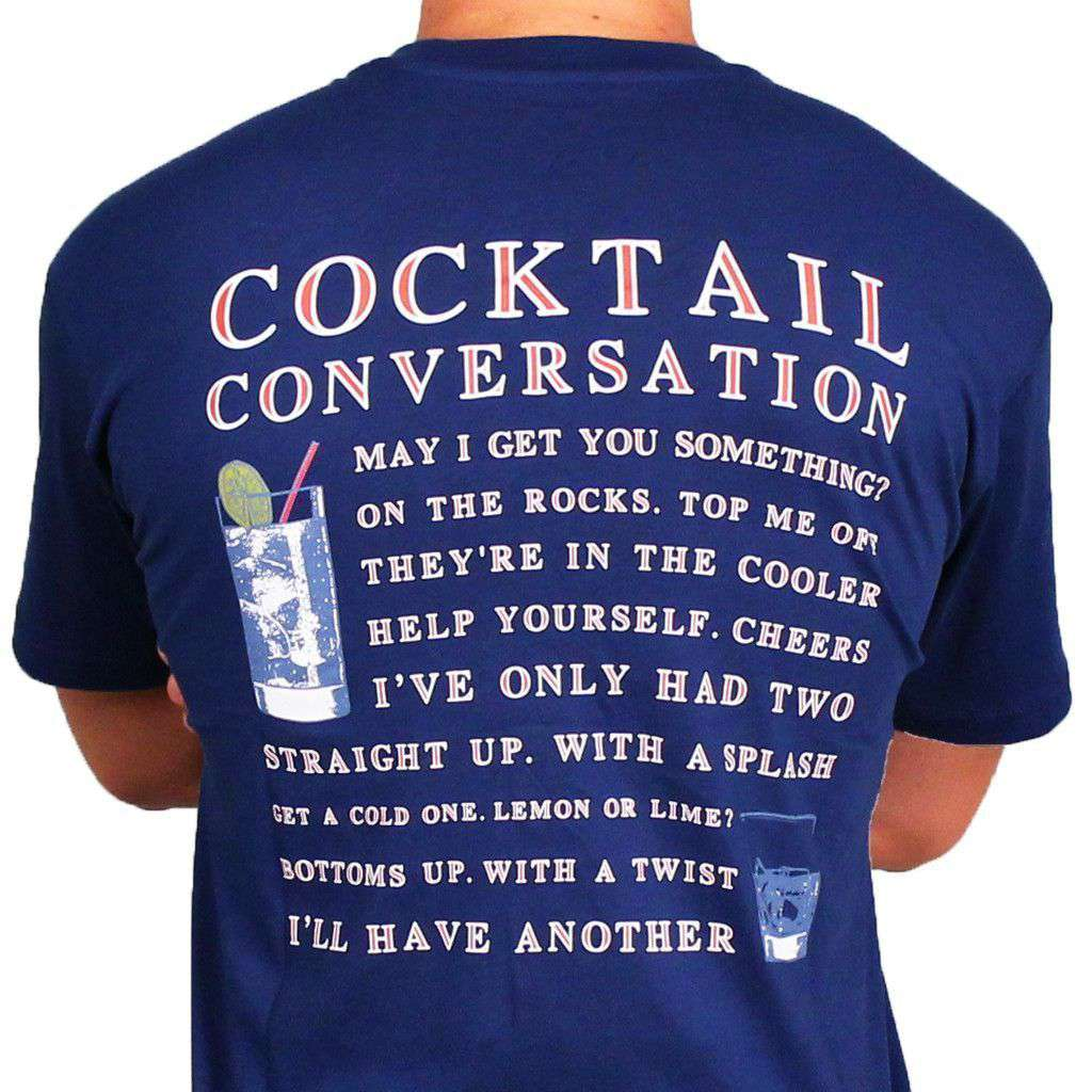 Cocktail Conversation Tee in Navy by Southern Proper  - 1