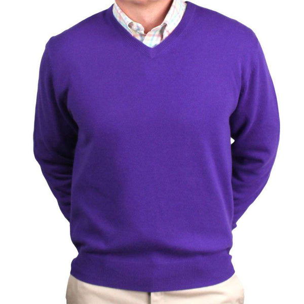 Ivy League Cashmere V-Neck Sweater in Iris Purple by Country Club Prep  - 1