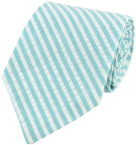 Seersucker Tie in Wide Aqua by Just Madras