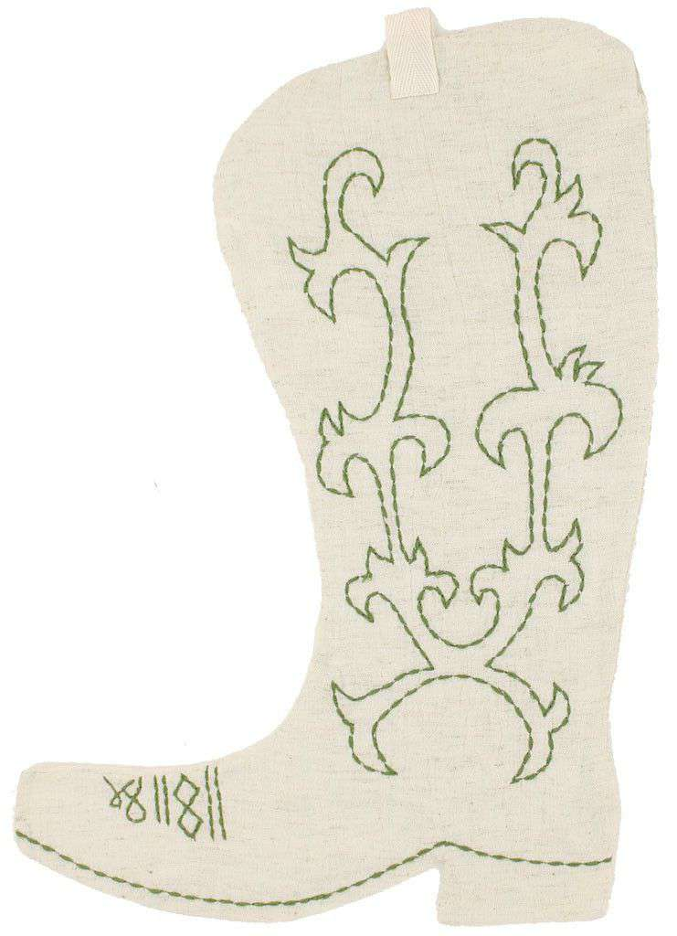 Cowboy Boot Christmas Stocking in Cream by Judith March