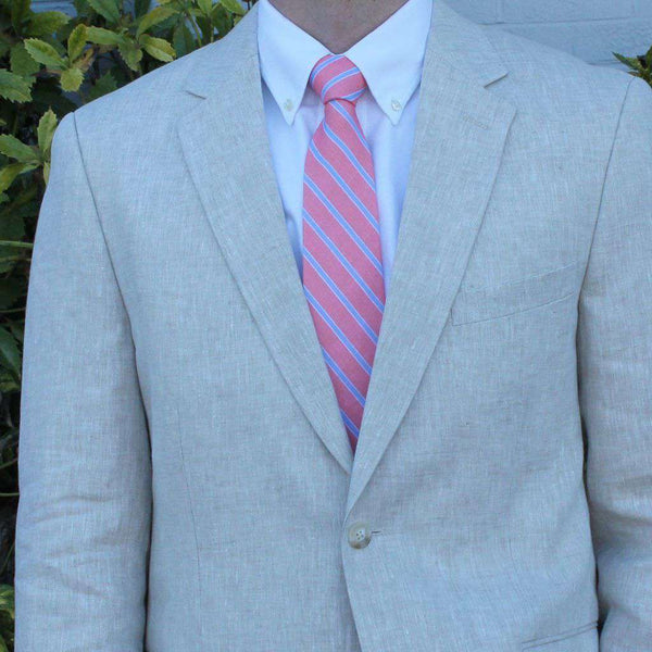 Massie Blazer in Natural Tan Linen by Country Club Prep  - 1