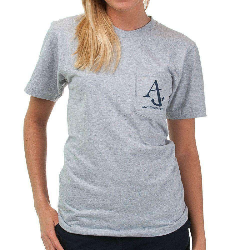 Nautical Flag Pocket Tee Shirt in Grey by Anchored Style  - 4