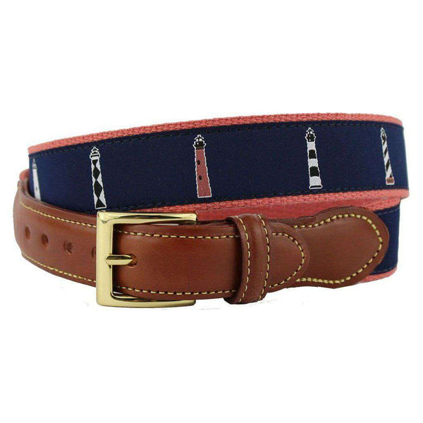 Any Port in a Storm Lighthouse Leather Tab Belt in Navy on Nantucket Red Canvas by Country Club Prep