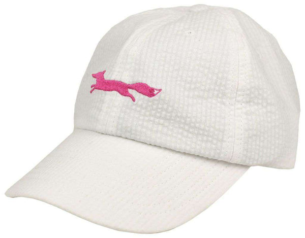 Pink Longshanks Bow Hat in White Seersucker by Lauren James  - 1