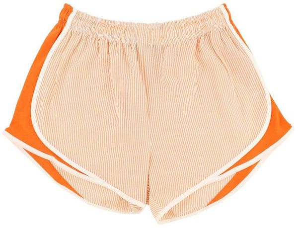 Shorties Shorts in Orange Seersucker by Lauren James  - 2