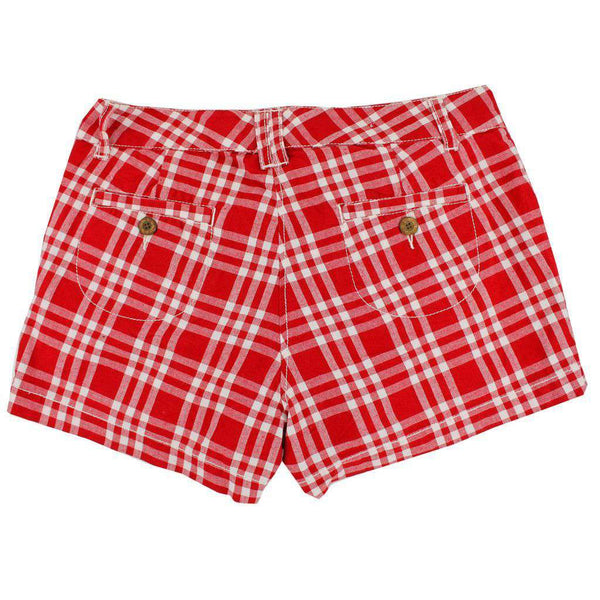 Women's Shorts in White and Crimson Madras by Olde School Brand  - 2