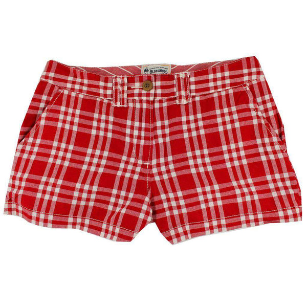 Women's Shorts in White and Crimson Madras by Olde School Brand  - 1