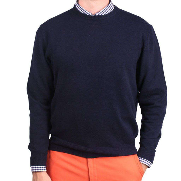 Yacht Club Cashmere Crew Neck Sweater in Navy by Country Club Prep