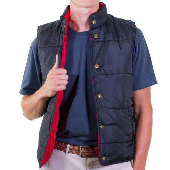 Reversible Vest in Navy and Red by Castaway Clothing  - 2