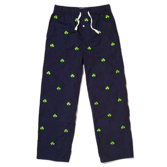 Sleeper Pants in Nantucket Navy with Shamrocks by Castaway Clothing  - 1