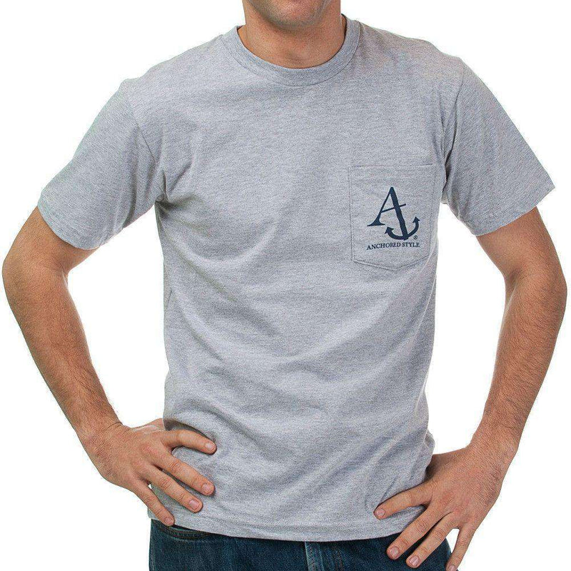 Nautical Flag Pocket Tee Shirt in Grey by Anchored Style  - 3