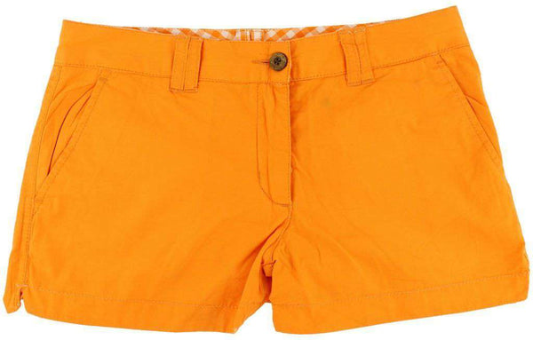 Reversible Women's Shorts in Orange and White Madras and Solid by Olde School Brand - FINAL SALE