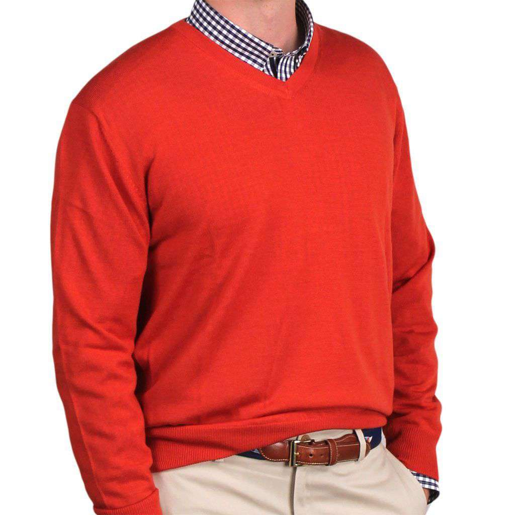 Weekday Warrior V-neck Merino Sweater in Burnt Orange by Country Club Prep