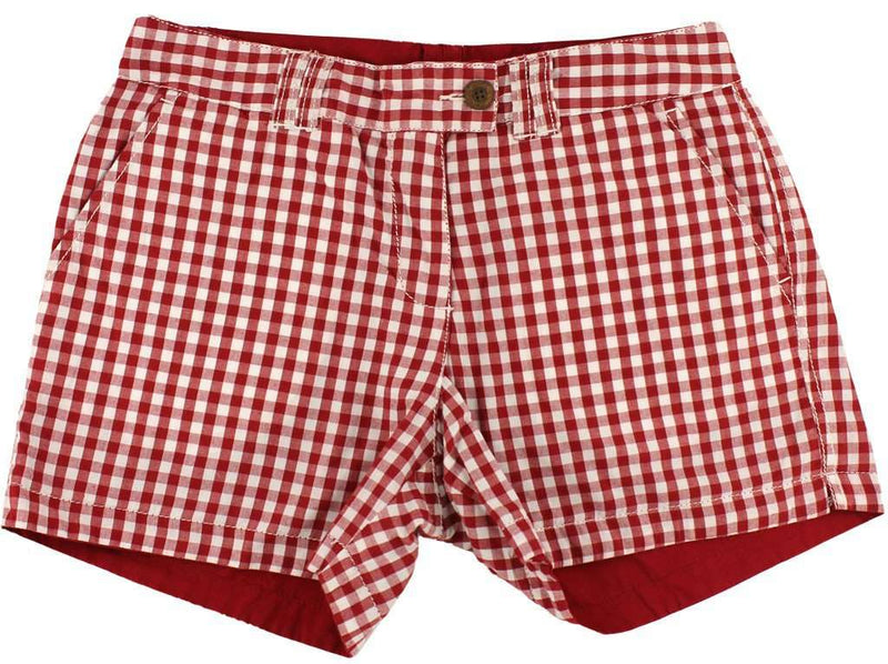 Reversible Women's Shorts in Crimson and White Gingham and Solid by Olde School Brand