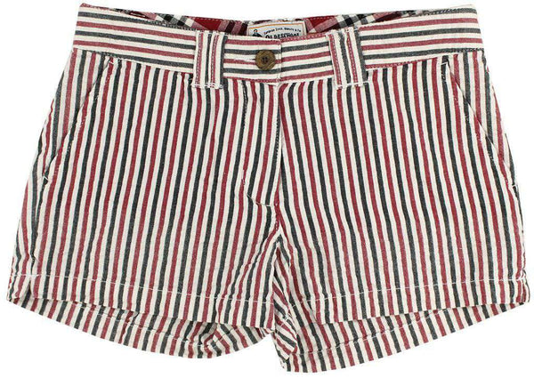 Women's Shorts in Crimson and Black Seersucker by Olde School Brand