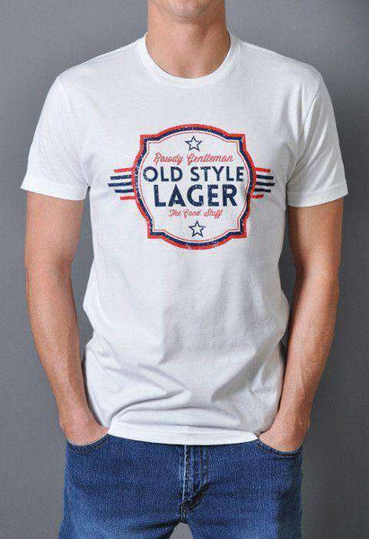 Old Style Lager Vintage Tee Shirt in White by Rowdy Gentleman  - 1