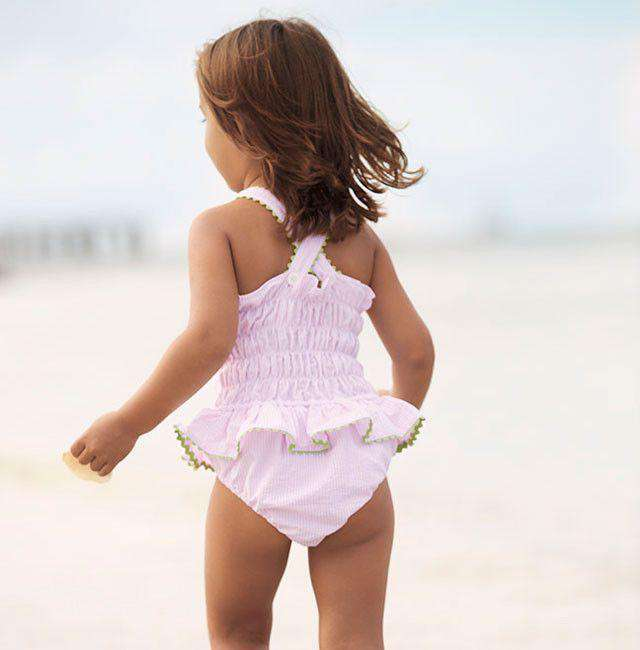 Skirted One Piece in Pink with Green Trim by Bella Bliss  - 1