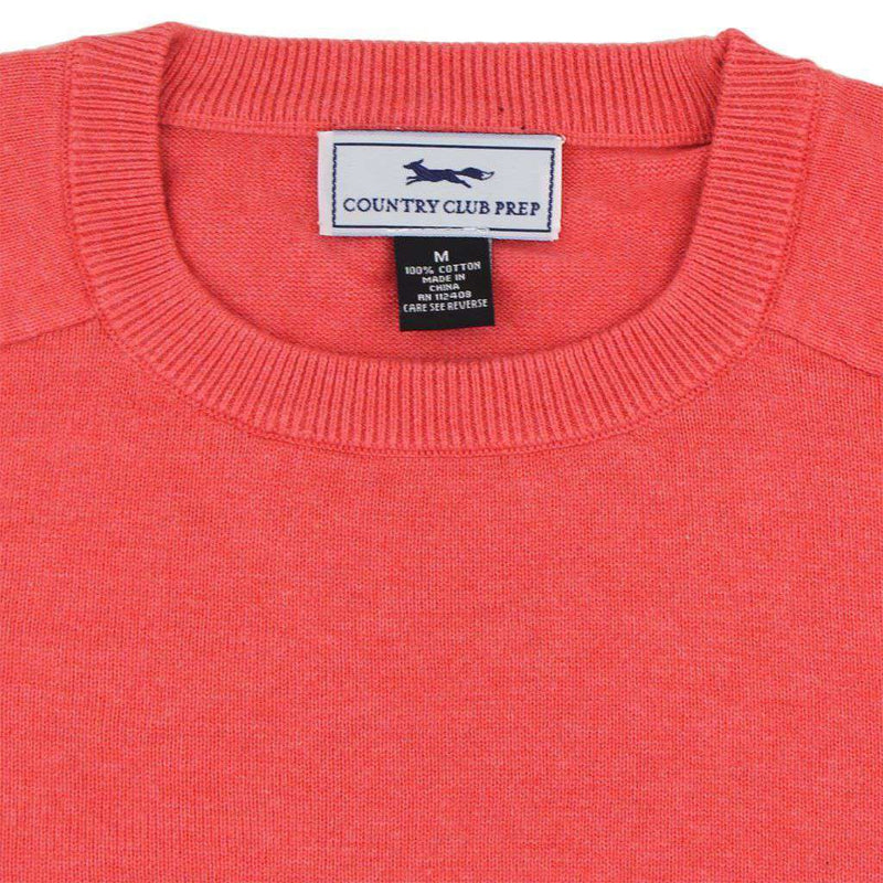 Front Nine Cotton Crew Neck Sweater in Salmon by Country Club Prep - FINAL SALE