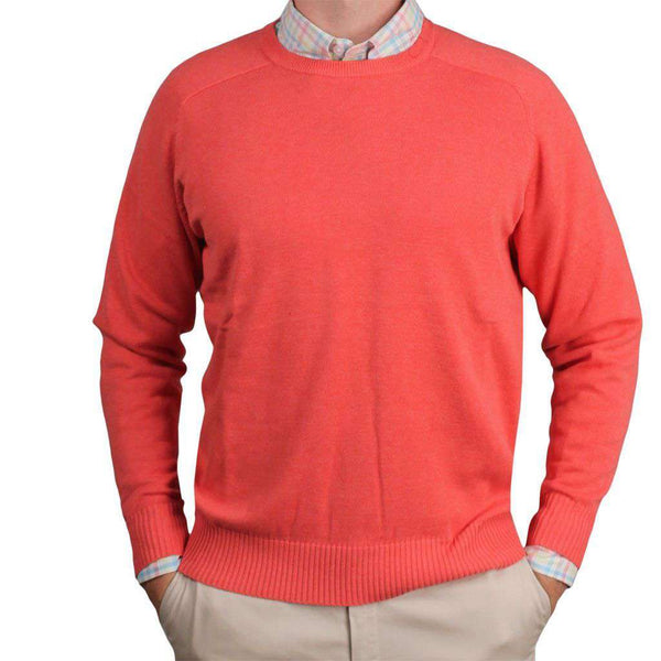 Front Nine Cotton Crew Neck Sweater in Salmon by Country Club Prep  - 1