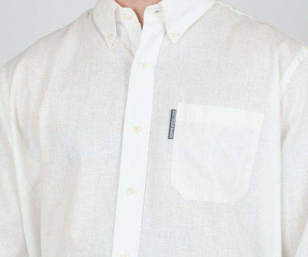 Spoonbill Shirt in White Linen by Southern Marsh  - 1