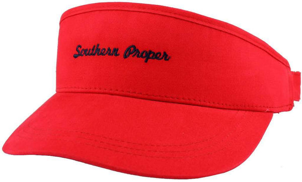 Script Golf Visor in Red by Southern Proper