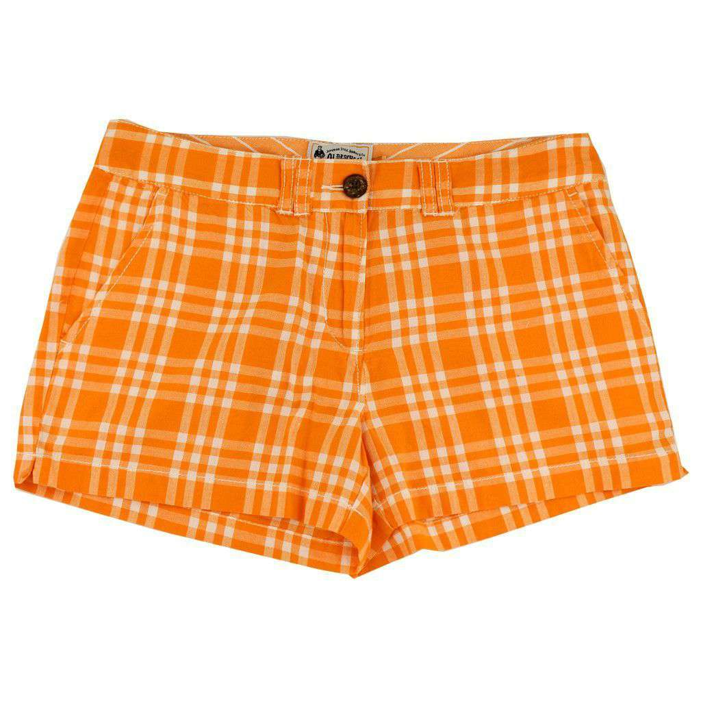 Women's Shorts in White and Orange Madras by Olde School Brand  - 1
